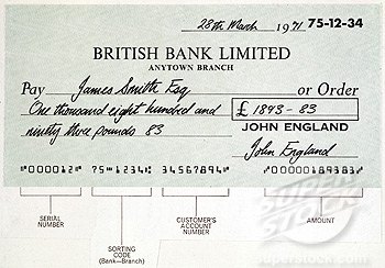 Example of a computer-generated MICR cheque, c 1975.